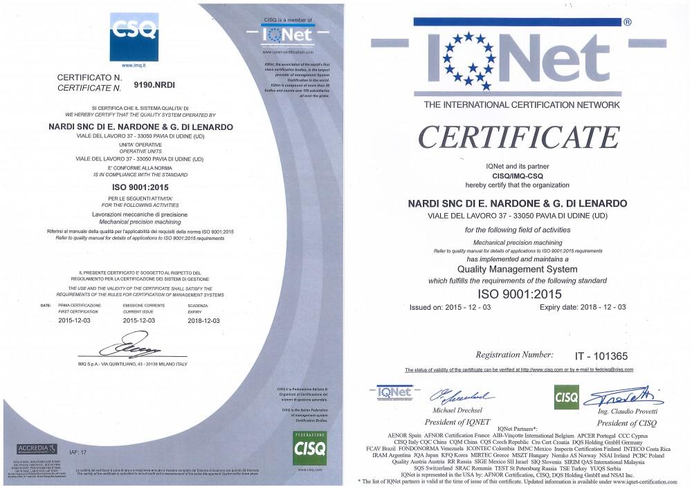 certificati di qualità ISO 9001:2015